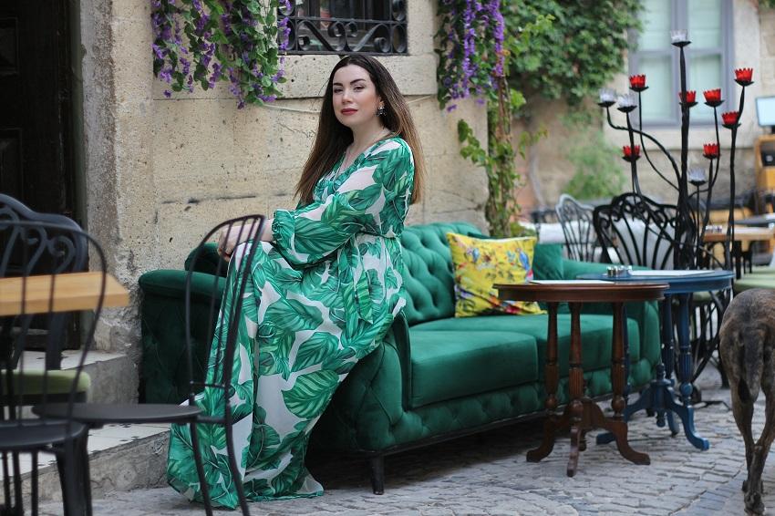 Yeşil Yapraklı Maksi Elbise-girlmerry