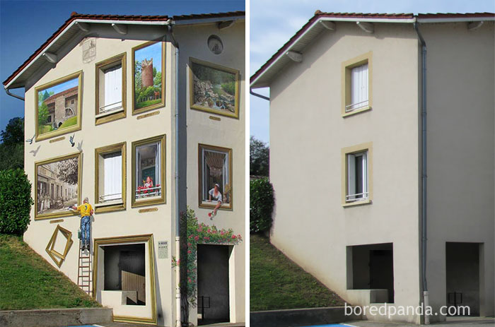10+ Incredible Before & After Street Art Transformations That'll Make You Say Wow - Tableaux D'eyzin-Pinet, Eyzin-Pinet, France