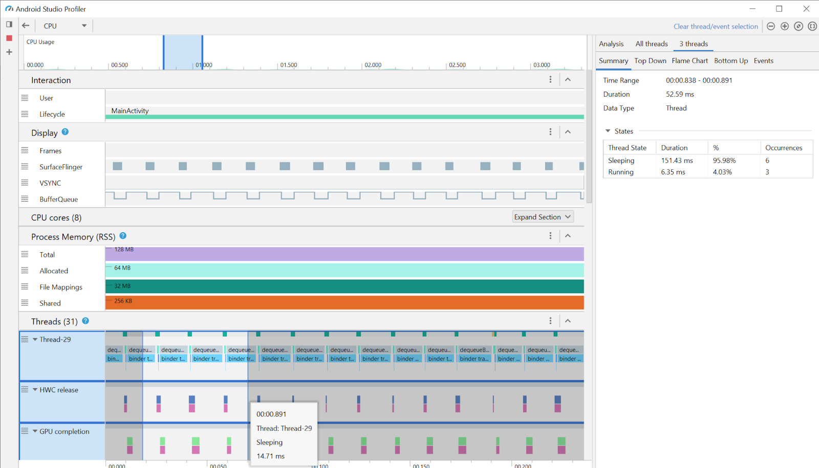 gif demonstrating how AGDE integrates with a standalone version of Android Studio Profilers.
