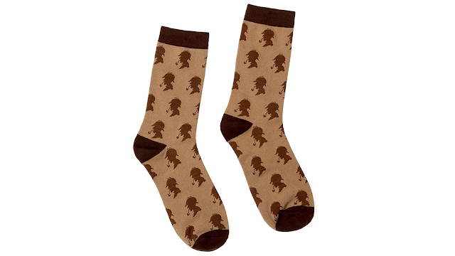 Socks with the profile of Sherlock Holmes