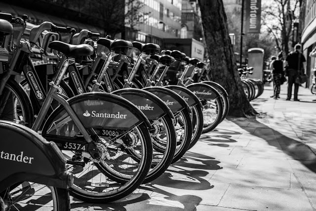 Row of London 'Boris' bikes