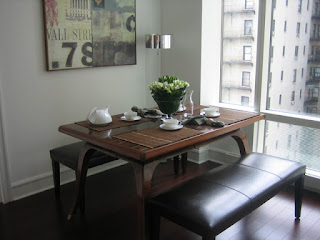 Fabulous Wooden Dining Sets With Benches near the Glass Windows adn Glossy Drum Pendant Floor Lamp