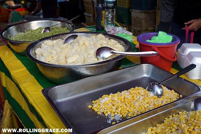 urap jagung, ubi kayu, emping padi