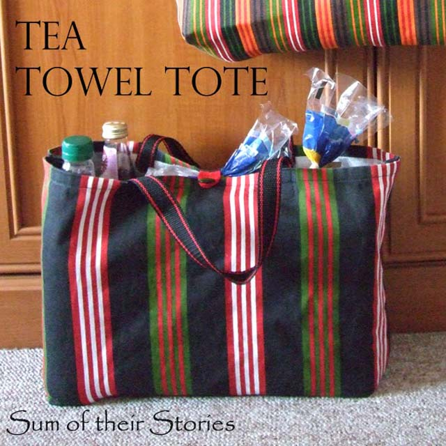 Learn how to make a tote bag from a tea towel. Tutorial by Sum of their Stories.