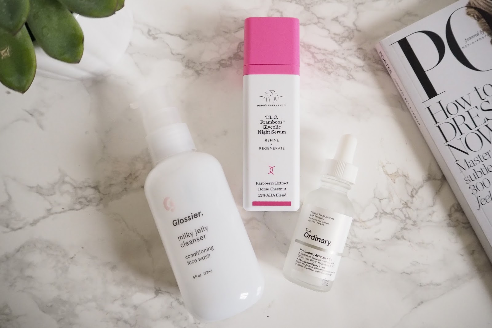 Glossier Milky Jelly Cleanse, Drunk Elephant TLC Framboos, The Ordinary Hyaluronic Acid