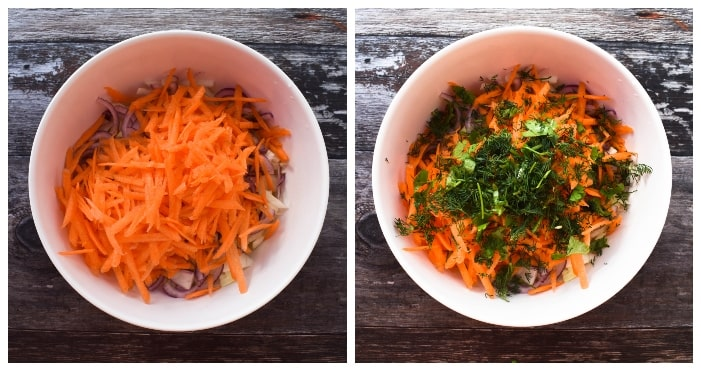 Making carrot & dill coleslaw - step 2 - grated carrot & fresh herbs