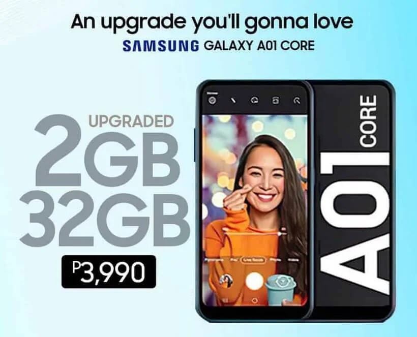 Samsung Galaxy A01 Core;  Samsung's Most Affordable Smartphone Yet for Only Php3,990