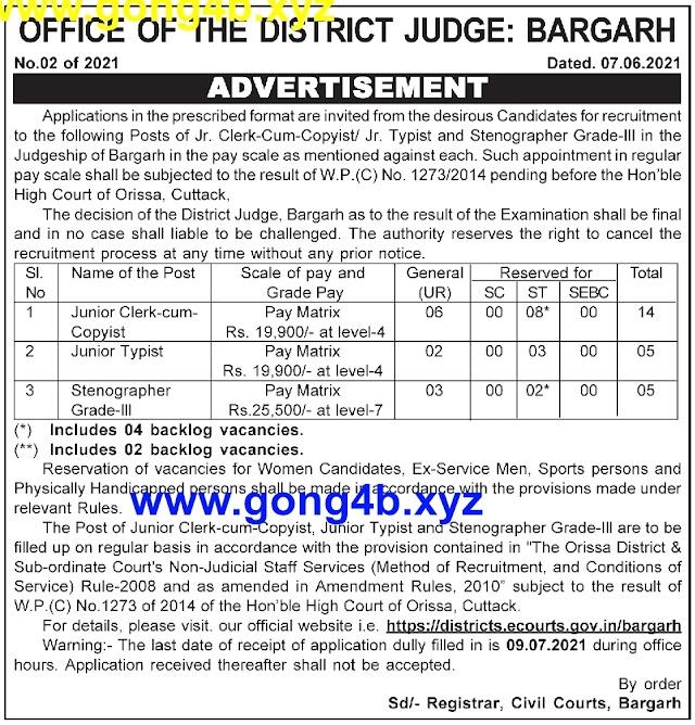 Bargarh District Judge Recruitment for Clerk Cum Copyst, Junior Typist and Stenographer