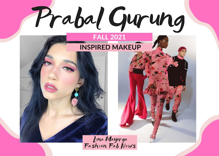 Prabal Gurung Inspired Makeup Look Fall 2021 NYFW Pink Fuchsia Makeup vs floral dress, floral mens pants, Black clothes, pink graphic