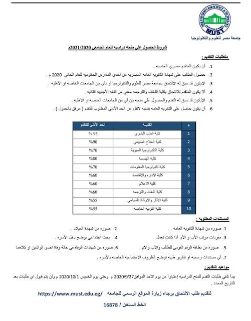 جامعة مصر للعلوم والتكنولوجيا عن فتح باب التقدم للمنح الدراسيه