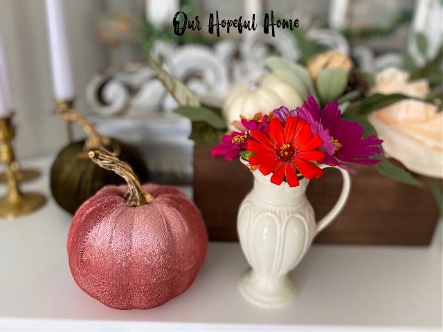 pink velvet pumpkins creamer bud vase zinnias