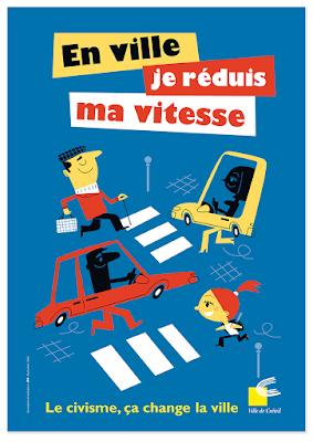 Clod illustration affiche en ville je réduis ma vitesse ville de Créteil