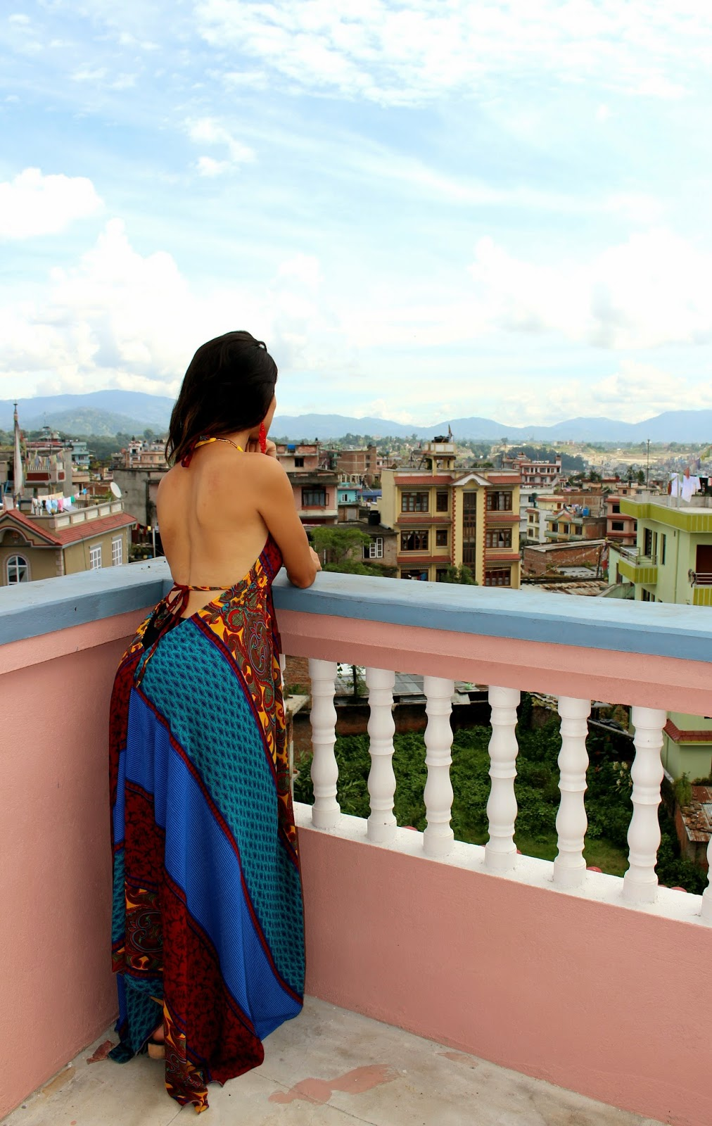 Lotus Sky jewelry model, Nepal rooftop