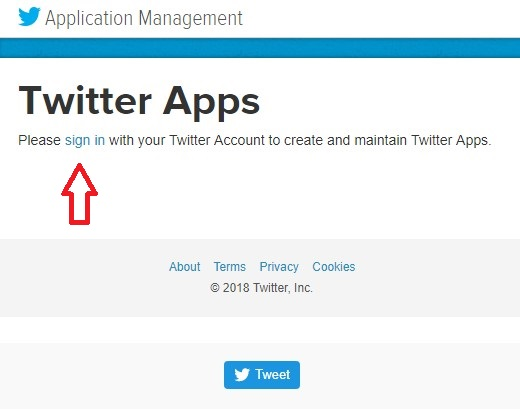 Twiitter Apps Sign In