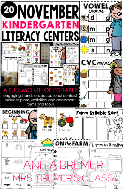 20 hands-on, spiraled Kindergarten Literacy Centers for the entire month of November