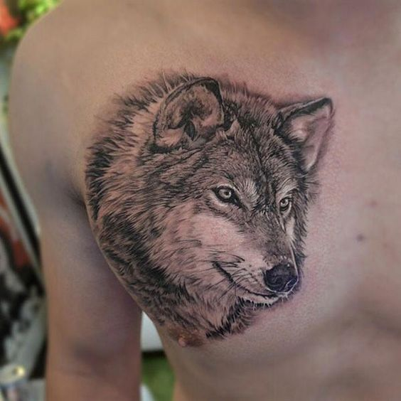 Chest Wolf Tattoos