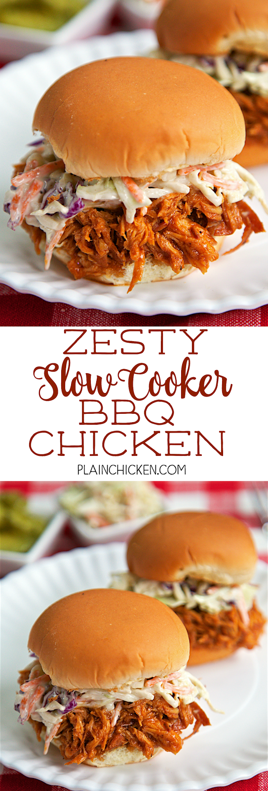Zesty Slow Cooker BBQ Chicken - only 5 simple ingredients! You probably already have them in the house! Chicken, BBQ sauce, Italian dressing, brown sugar and Worcestershire sauce. I love all of these ingredients and they taste great combined into one easy dish! Feel free to use frozen chicken breasts in this dish. Make a ton, so it's great for a potluck! Serve chicken on buns, nachos, baked potato or on top of a salad. Everyone gobbled this up!