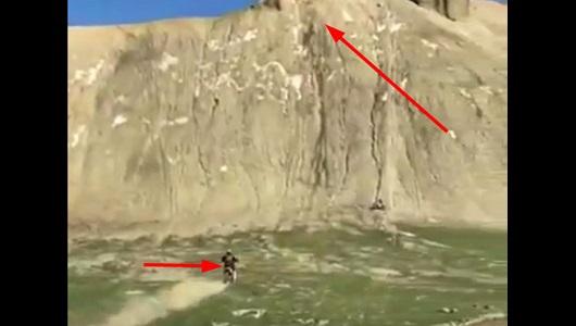 سقوط صاحب دراجة نارية من أعلى الجبل بعد فقدان تواونه