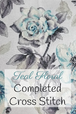 Finished Teal Floral Cross Stitch