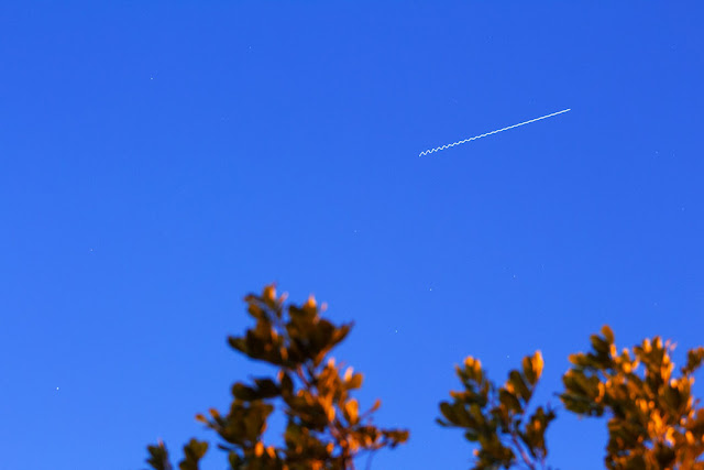 ISS passing over Orange County in this 75 mm, 4 second, DSLR shot at about 7:30 PM (Source: Palmia Observatory)