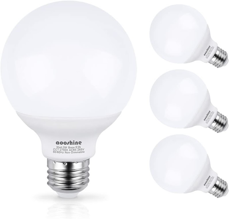 40% OFF G25-E26 5W 2700K LED Bulb, Aooshine Soft Warm White E26 Base Globe Vanity Makeup Mirror Lights Bulb, Non-dimmable(Pack of 4)