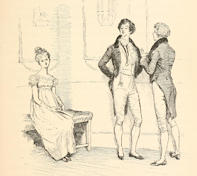 """Not handsome enough to tempt me"" by Hugh Thomson from Pride and Prejudice by Jane Austen (1894 edition)"