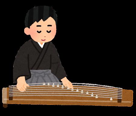 琴を演奏している人のイラスト(男性)