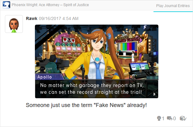 Phoenix Wright Ace Attorney Spirit of Justice Apollo garbage report on TV fake news