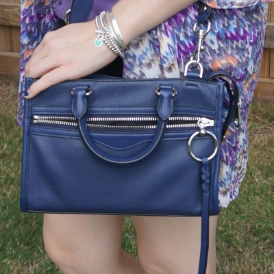 pruple printed kimono with navy Rebecca Minkoff Micro Bedford crossbody bag