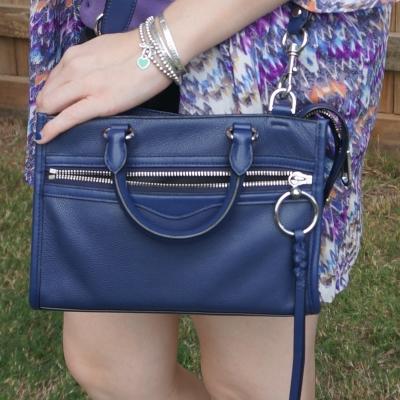 pruple printed kimono with navy Rebecca Minkoff Micro Bedford crossbody bag