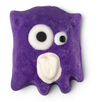 A rectangular dark purple bubble bar with a big white eye and a small white eye and mouth on a bright background