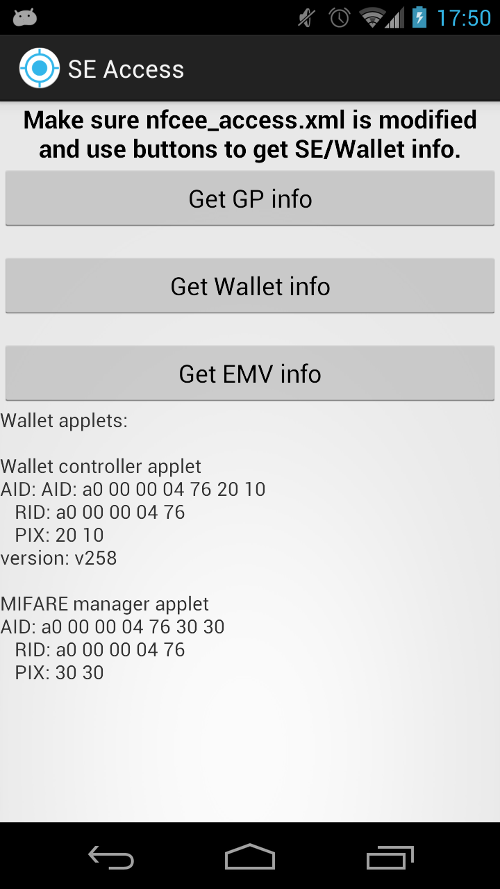 Exploring Google Wallet using the secure element interface