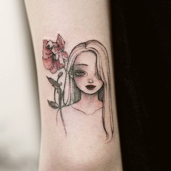 romantic Anime Girl Tattoo sleeve