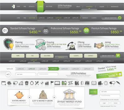 menus pagina web en vector en verde y gris