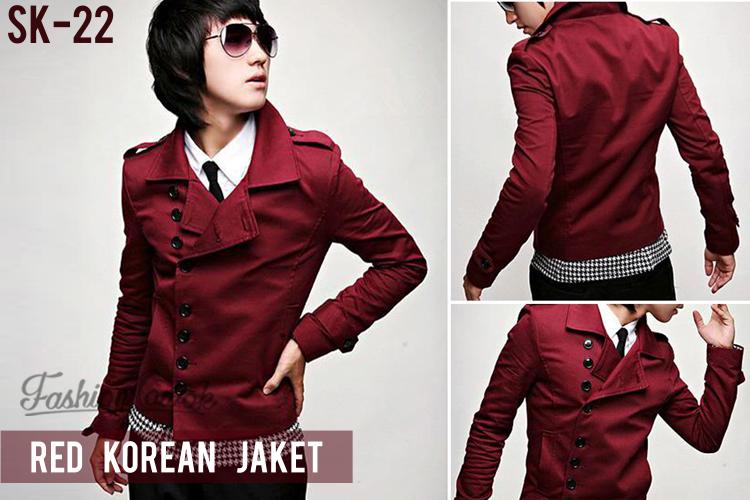 jaket merah fashion cowok