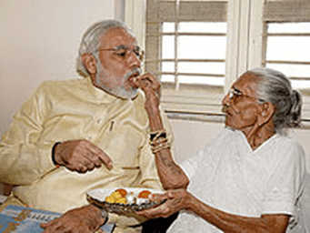 Indian Politician Prime Minister Narendra Modi With His Mother HD Wallpapers Pics