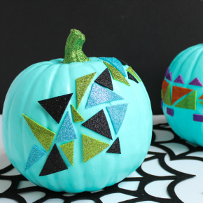 Make these geometric glitter sticker pumpkins in minutes!