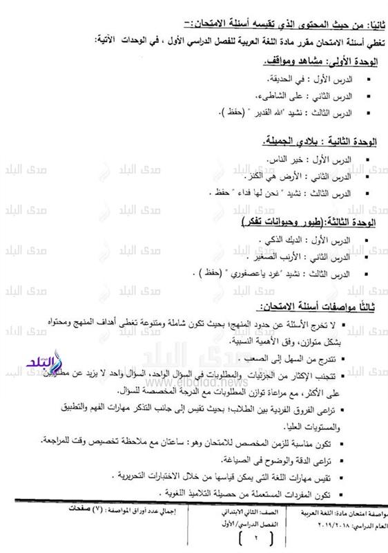 مواصفات الورقة الأمتحانية لغة عربية انجليزي رياضيات علوم دراسات دين