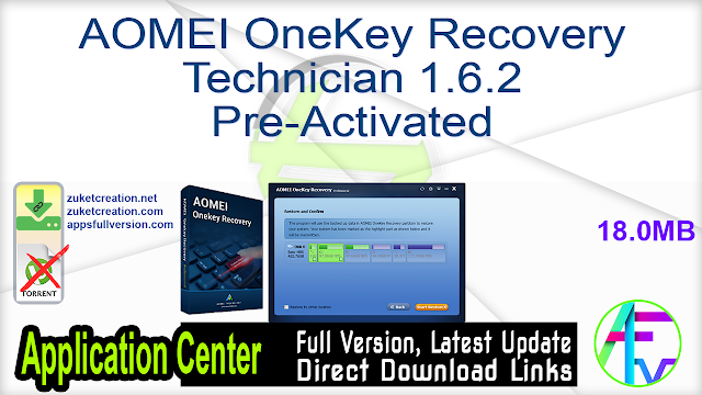 AOMEI OneKey Recovery Technician 1.6.2 Pre-Activated