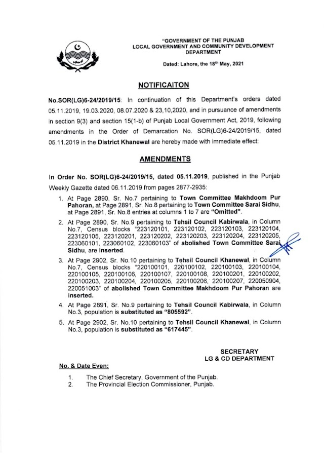 DEMARCATION OF TEHSIL COUNCILS AND ABOLISHED TOWN COMMITTEES OF DISTRICT KHANEWAL
