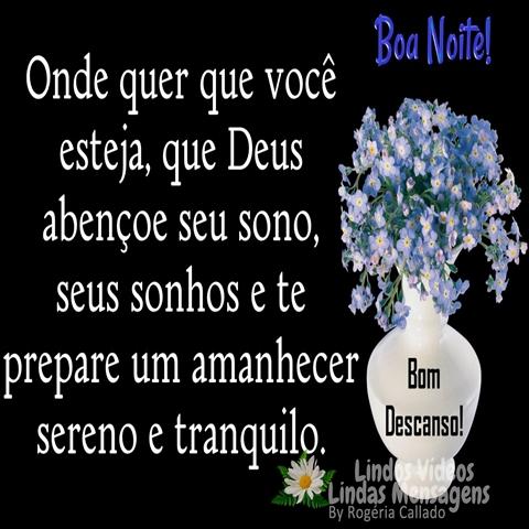 Onde quer que você esteja,  que Deus abençoe seu sono,  seus sonhos e te prepare um  amanhecer sereno e tranquilo.  Bom Descanso!  Boa Noite!