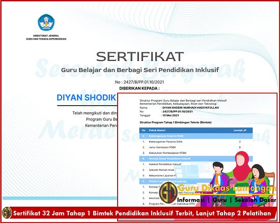 Sertifikat 32 Jam Tahap 1 Bimtek Pendidikan Inklusif Terbit, Lanjut Tahap 2 Pelatihan