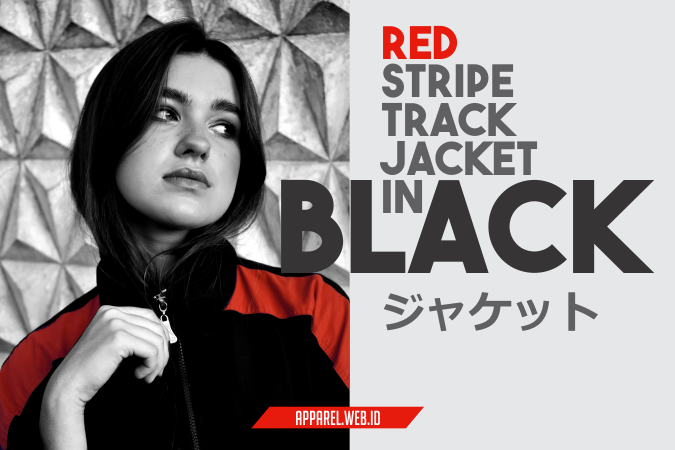Red Stripe Track Jacket in Black Custom - Konveksi Jacket Bordir