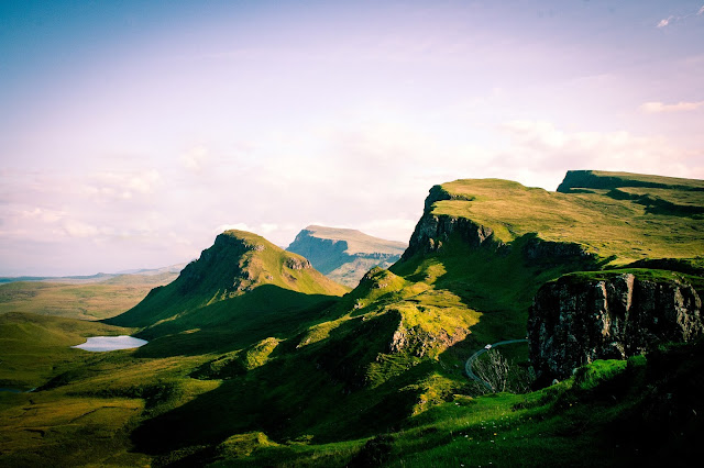 Photograph Stunning Green Hills and Peaks of the Quiraing in the Isle of Skye Scotland