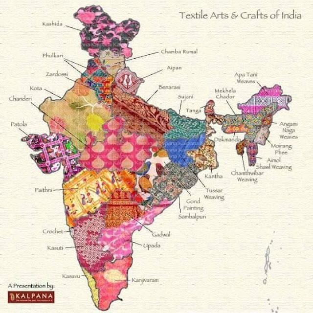 Different Kind Of Fabrics & Weaving Of India Shown In One Map.