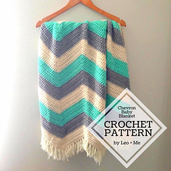 Chevron ripple stripe baby blanket Crochet pattern