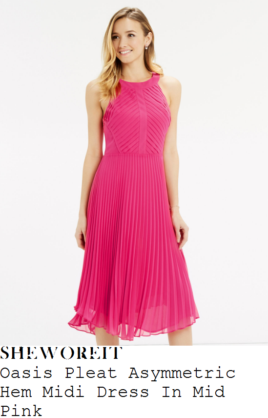 vicky-pattison-oasis-bright-pink-sleeveless-pleated-asymmetric-hem-midi-dress