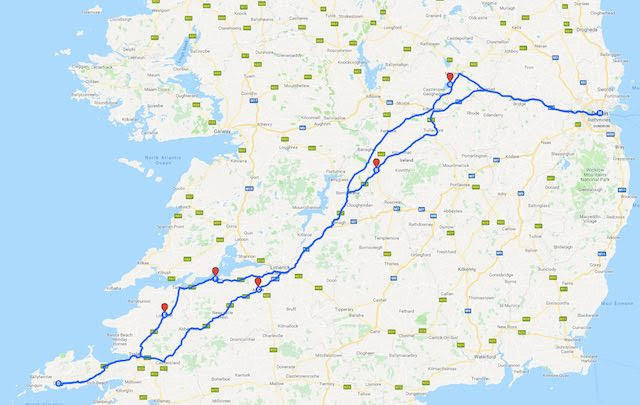 Map of points of interest on an Irish road trip between Dublin and Dingle