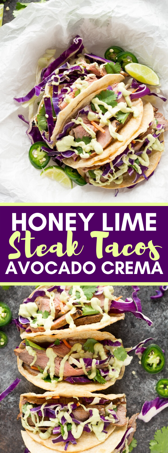 HONEY LIME STEAK TACOS WITH AVOCADO CREMA #lunch #mexicanfood