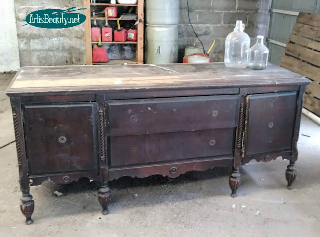 Rescued vintage sideboard BEFORE makeover   Do it yourself using General Finishes Milk paint in custom color